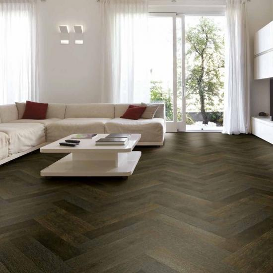 Herringbone Brushed Black Multiply Engineered Oak Flooring
