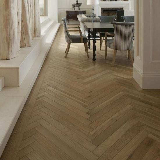 Herringbone Brushed Natural Multiply Engineered Oak Flooring